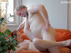 A guy lets his naughty girlfriend to have sex with his unsatisfied stepfather