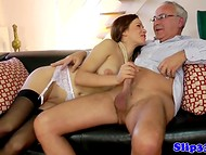 Spectacular miss was dreaming for a long time to taste sperm of old fogey